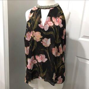 Floral top with rhinestone neckline